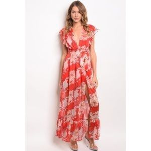Dresses - Red Floral Maxi Dress